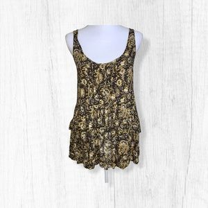 Intimately Free People Gold Paisley Tunic Top XS